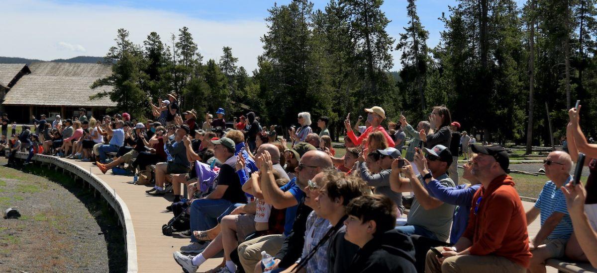 Old Faithful's crowd on June 1. Photo by Douglas Scott.