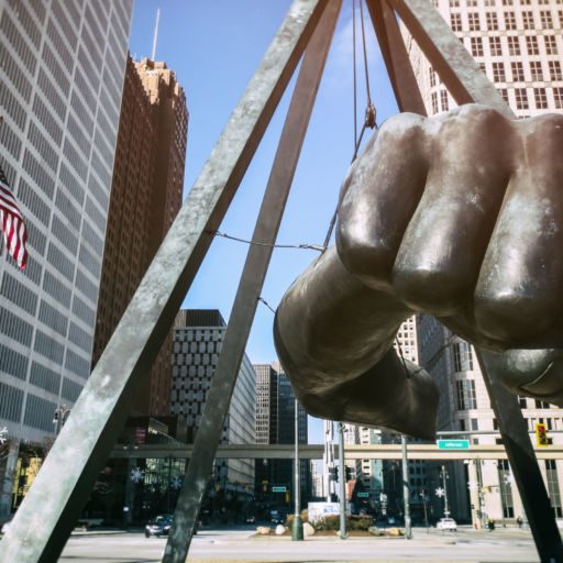 "The Best of Detroit - The Monument to Joe Louis, known also as ""The Fist"", a memorial to the boxer at Detroit's Hart Plaza. Shutterstock"