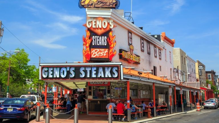 Geno's Steaks in Philadelphia. Pic via Shutterstock.