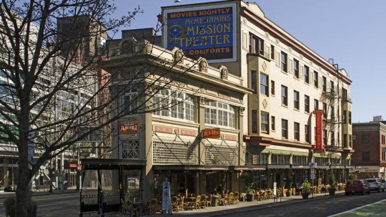 McMenamins Crystal Hotel and Ballroom in downtown Portland Oregon off of Burnside. Microbrew craft beer restaurant