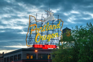 Famous Old Town Portland Oregon neon sign on May 05, 2014 in Portland, Oregon. The sign faces westbound traffic as it enters downtown Portland coming across the Willamette River.