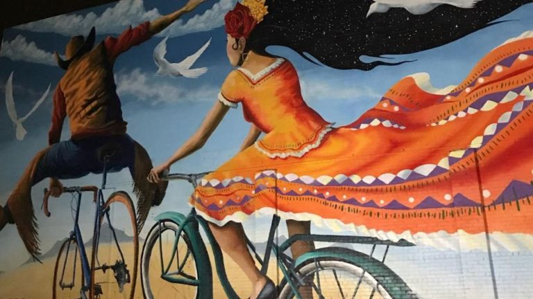 Cowboy on a Bicycle mural, Tucson