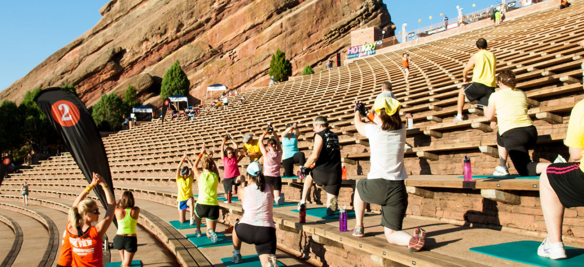 Morning fitness class at Red Rocks Amphitheater in Denver.