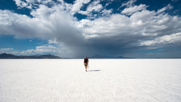 Bonneville Salt Flats, Salt Lake City. Pic via Shutterstock.
