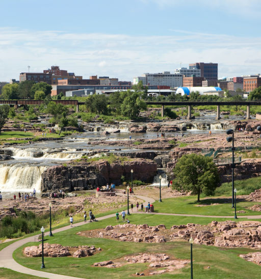 Falls Park, Sioux Falls, South Dakota. Pic via Shutterstock.