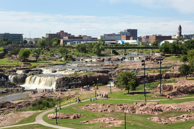 Falls Park, Sioux Falls, South Dakota. Pic via Shutterstock.