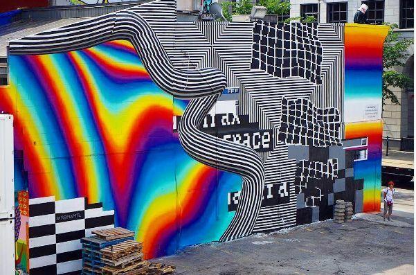 Felipe Pantone's 3-D mural