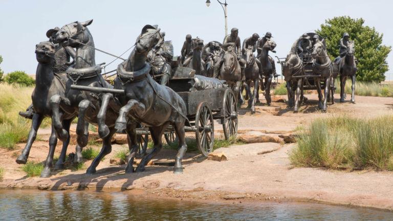 Land Run Monument, Oklahoma City. Pic via Shutterstock.