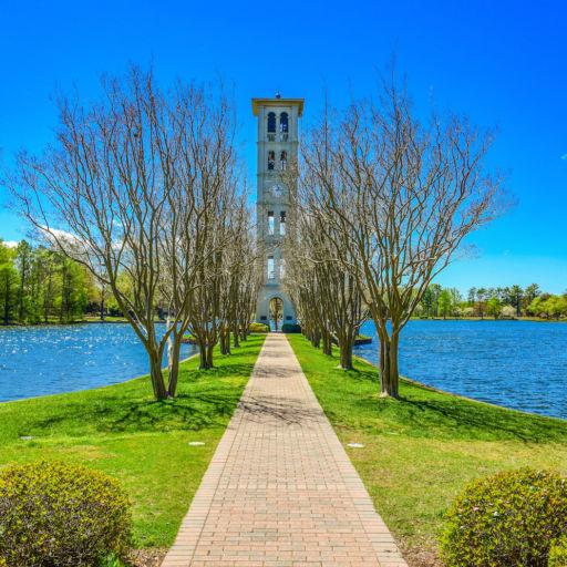 Furman Swan Lake and Bell Tower in Greenville, South Carolina.