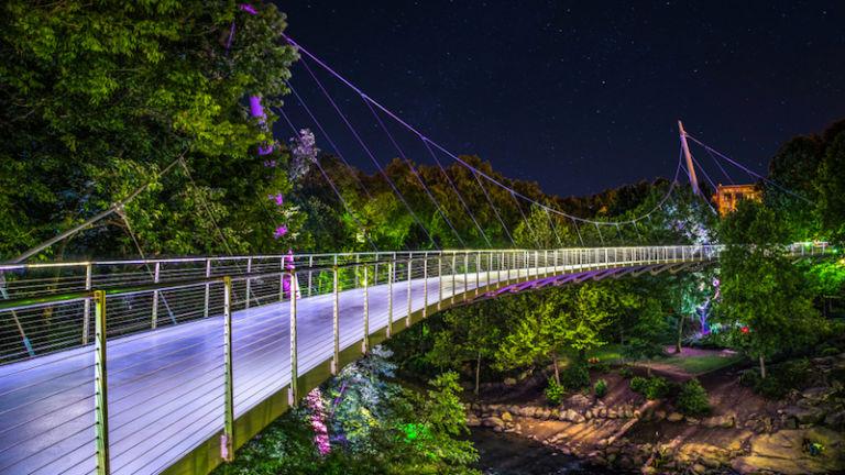 Liberty Bridge in Greenville, South Carolina. Photo credit Shutterstock.
