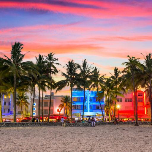 Miami Beach, Florida, on Ocean Drive at sunset. Photo via Shutterstock.
