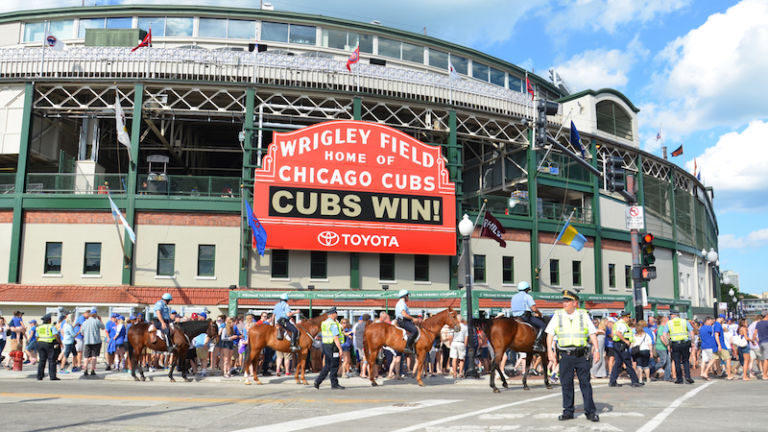 Wrigley Field in Chicago. Photo via Shutterstock.