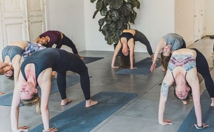 Yoga class in Village of West Greenville, South Carolina.