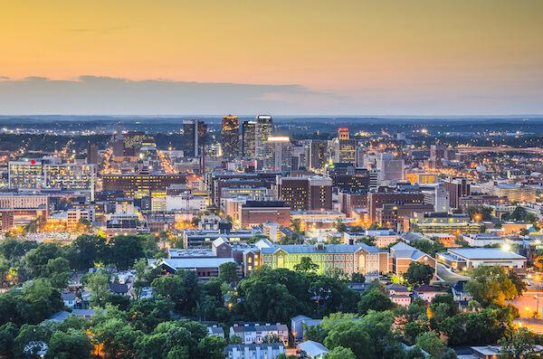 Birmingham, Alabama, downtown skyline. Photo via Shutterstock.