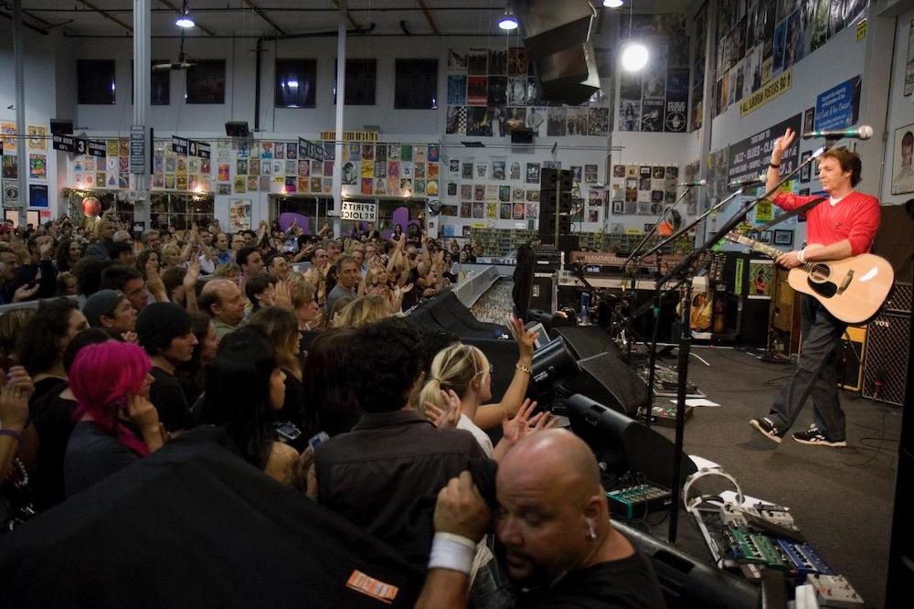 Paul McCartney's in-store performance at L.A.'s Amoeba Music.