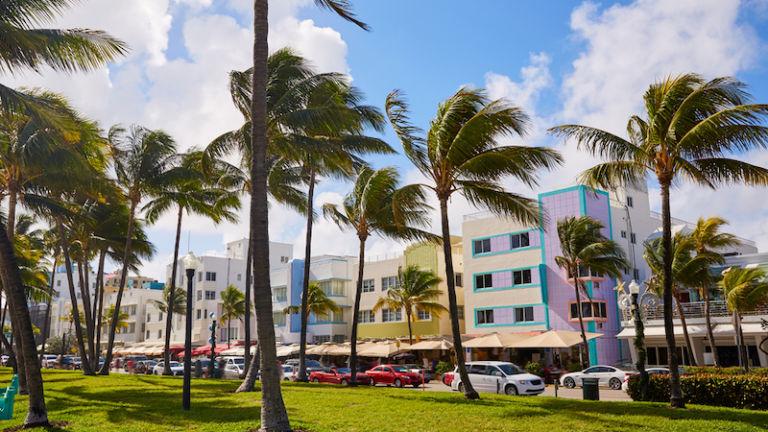 Art deco architecture on Ocean Drive in Miami. Photo via Shutterstock.
