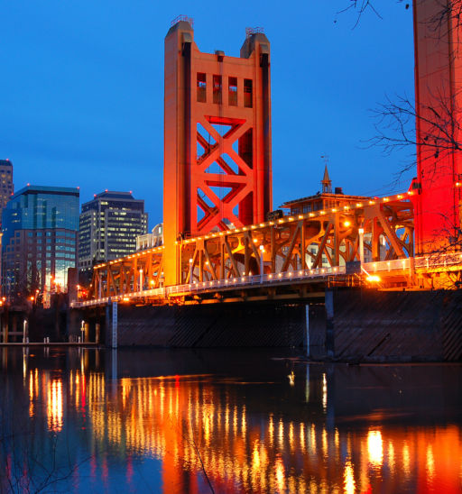 The Tower Bridge Crosses the Sacramento River in the heart of Downtown Sacramento, California. Photo via Shutterstock.