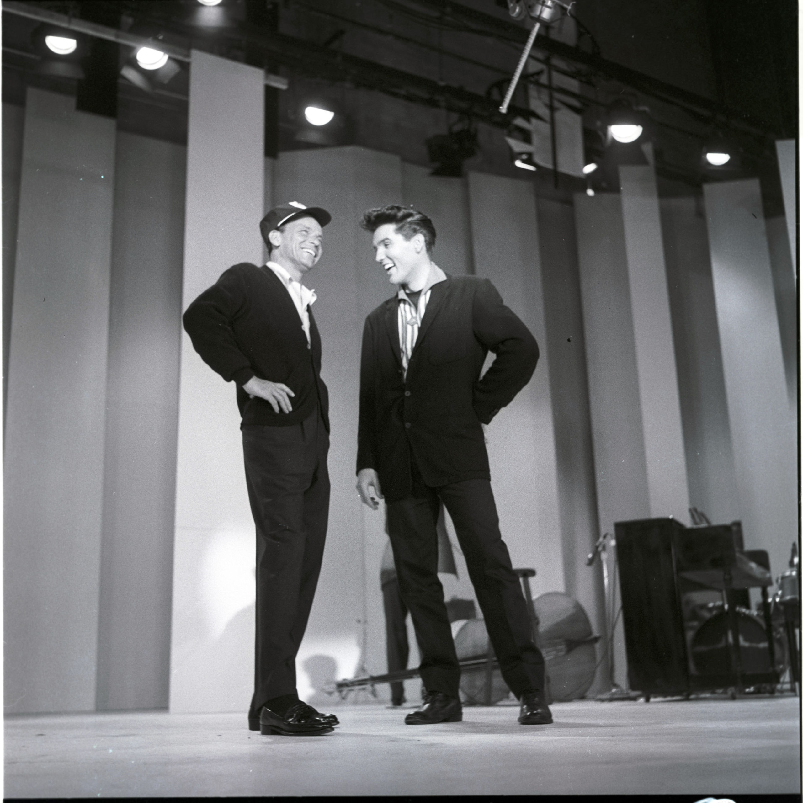 THE FRANK SINATRA SHOW - Airdate: May 12, 1960. L-R: Frank Sinatra, Elvis Presley (Photo by ABC Photo Archives/ABC via Getty Images)  The Marvelous Music History of Miami Beach's Fontainebleau