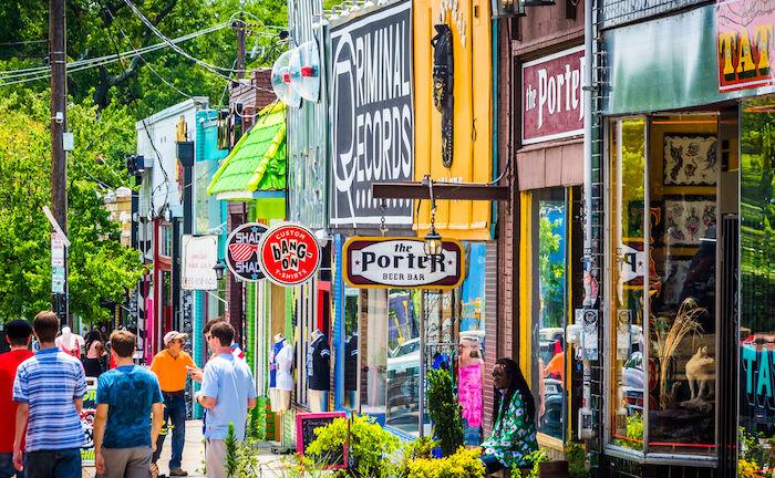 Little Five Points in Atlanta. Photo via Shutterstock.