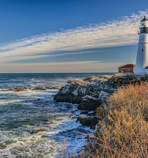 Cape Elizabeth is the home of Portland Head Light. Situated along the spectacular shores of Fort Williams Park. Photo via Shutterstock.