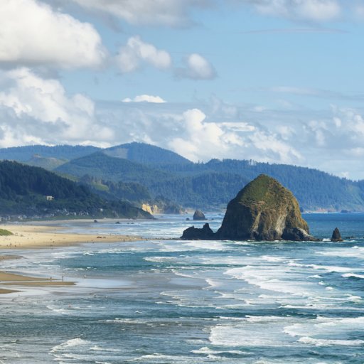 View of Cannon Beach in Oregon with Haystack Rock in the background.