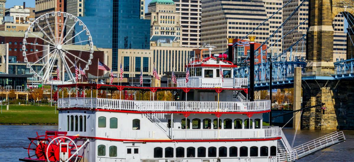 Cincinnati river front. Photo via Shutterstock.