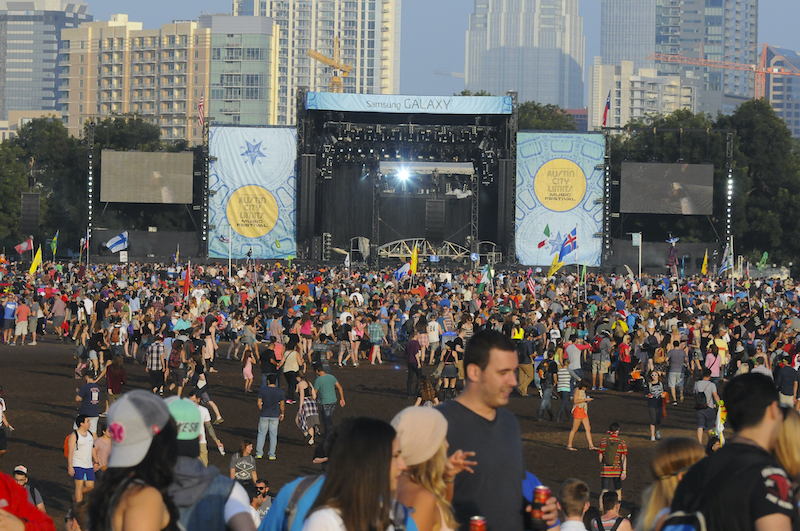 Austin - October 12:  Crowds gather in front of the Samsung Galaxy stage during the  Austin City Limits Music Festival on October 12, 2014. Photo via Shutterstock.