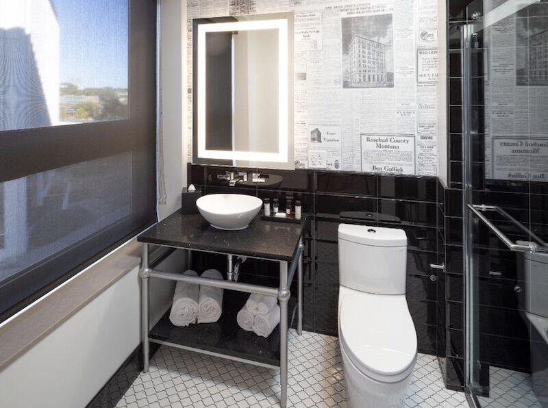 Bathroom in Hotel on Phillips in Sioux Falls, South Dakota.