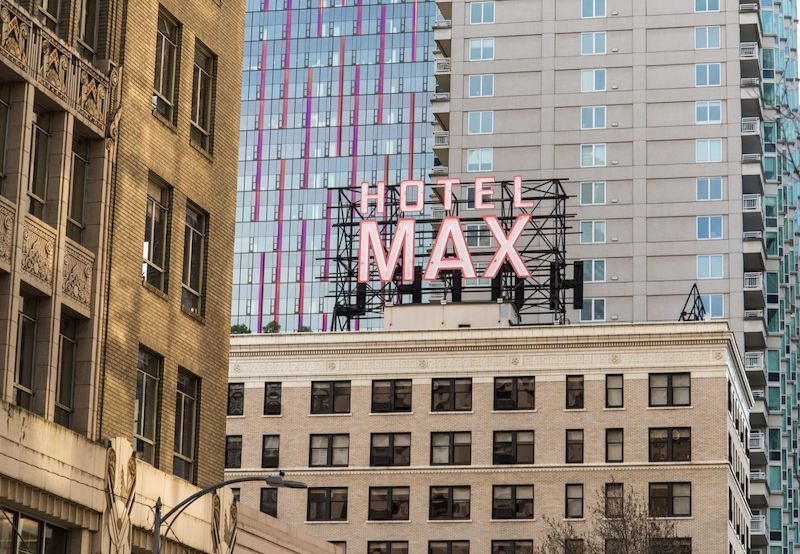 Exterior of Hotel Max in Seattle. Photo courtesy of Hotel Max.