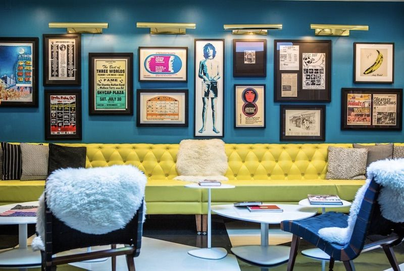 Lobby at the Verb Hotel in Boston.