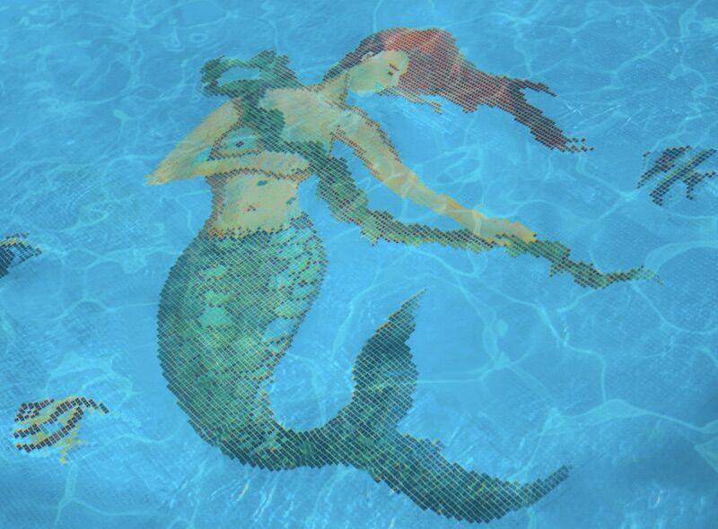 Mermaid-tiled pool at the Vagabond Hotel in Miami.