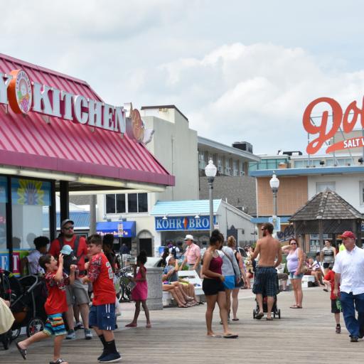 Rehoboth Beach boardwalk in Rehoboth Beach, Delaware.