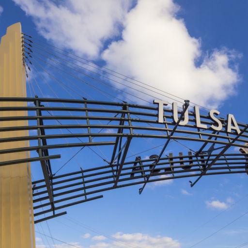 The famous Route 66 Gate in Tulsa, Oklahoma. Photo via Shutterstock.