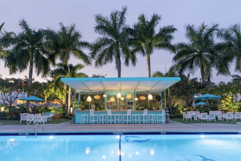 Outdoor bar at the Vagabond Hotel in Miami.
