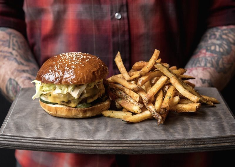 Burger and fries at the 21C Museum Hotel Lexington