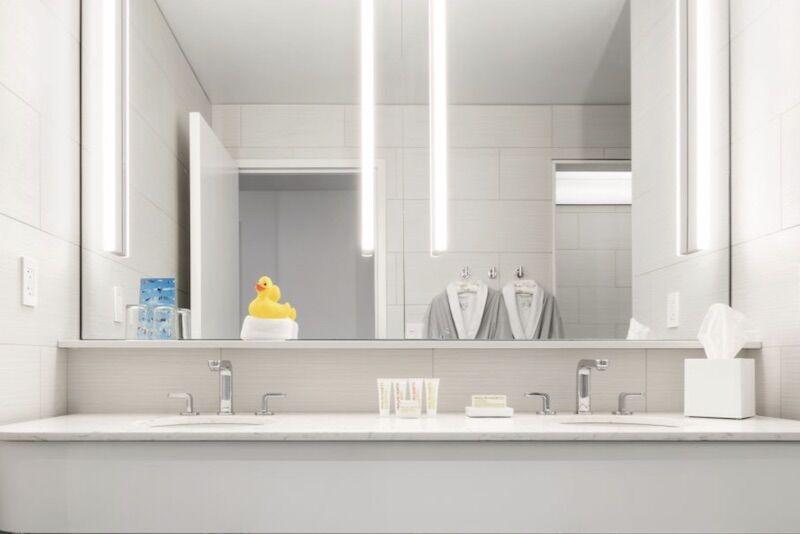 A bathroom at the 21C Museum Hotel Lexington