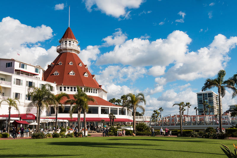 The courtyard and main building of the Hotel del Coronado. This historic beachfront hotel, built in 1888, was formerly the largest resort hotel in the world. Photo by Shutterstock.