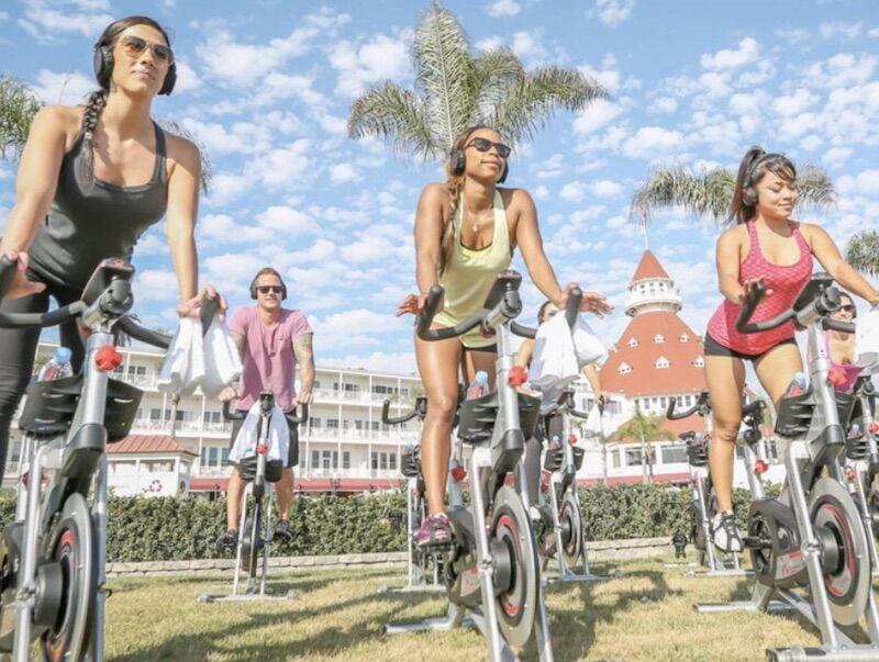 Beach spin class at Hotel Del Coronado.