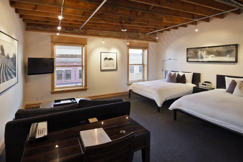 Hotel Donaldson's room #14 featuring artwork from Dan Jones.