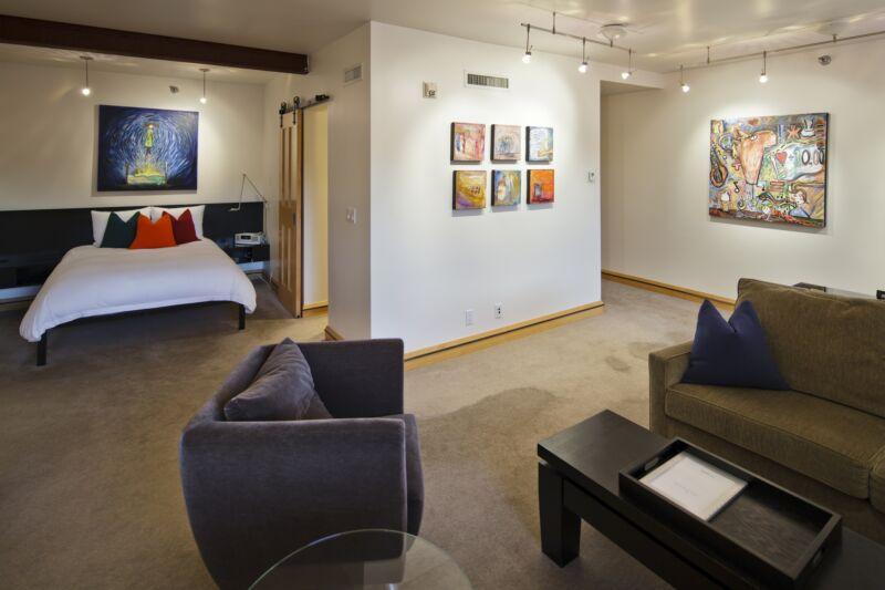 Hotel Donaldson's room #1 featuring artwork from Ali Larock.