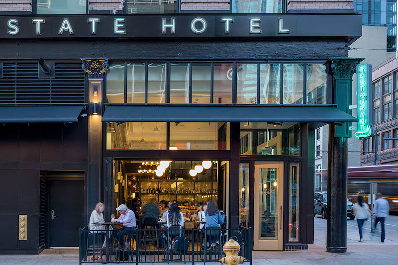The State Hotel exterior, looking at the Ben Paris patio.